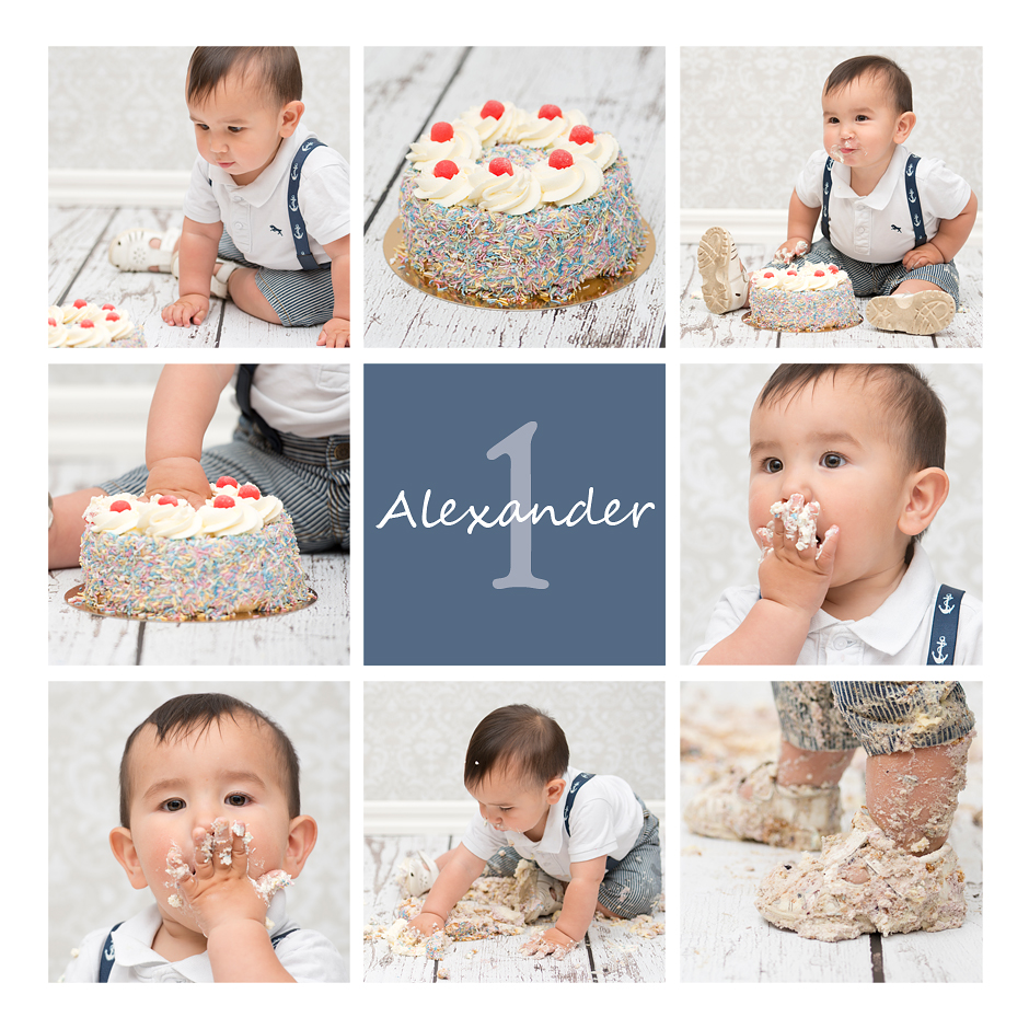 tårtkalas, tårta, smash the cake, ett år, studio, fotograf, uppsala, ystad, elin Stahre